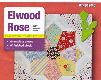 Patchwork Template Set - Elwood Rose from Victorian Textiles 6 inch block finished- online quilting Australia, Free Shipping Available