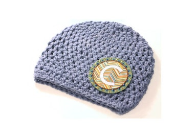 Boys Hat | Baby Beanie | Cotton Crochet Hat | Monogram Hat | Personalized Gift | Kids Accessory | Initial Hat | Denim Hat | Newborn Gift |