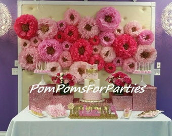 Amazing flower backdrop wall. Oversized paper flowers 36 units!! Wedding centerpiece. Breathtaking wall decor. Tissue bloom. 3D decorations
