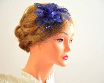 Navy blue and black headpiece with birdcage veil Black veil fascinator Black and navy blue headpiece Head piece Flower headpiece
