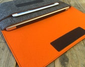 100% Wool Felt MacBook Case - MacBook Sleeve - Mottled Dark Grey and Orange