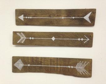 Set of 3 Arrow Signs on Rustic Reclaimed Pallet Wood