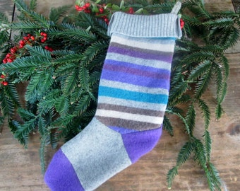 Wool stocking Ready to ship! Recycled sweater wool stocking. Wool stocking country Christmas stocking . Eco friendly holiday stocking