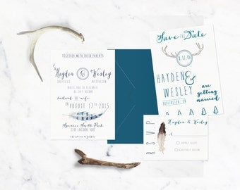rustic country/outdoor wedding invitation suite.