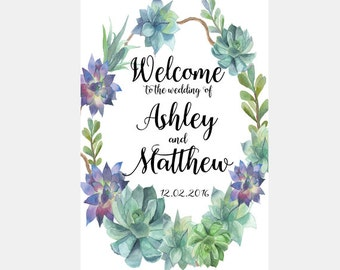 Printable Wedding Sign, Welcome Wedding Sign, Floral Wedding Sign, Boho wedding Sign, Wedding Sign, Succulent Wedding Sign, Desert wedding