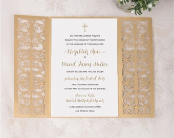 laser cut wedding invitation beautiful gate fold wedding die cut laser cut traditional religious wedding invites