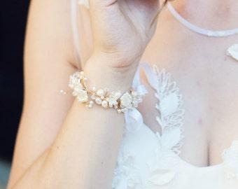 Bridal bracelet, floral bridal bracelet, crystal bridal bracelet, bridal jewellery, pearl bridal bracelet, bridal cuff, wedding bracelet