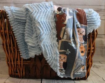 Minky Blanket, Baby Blanket, Boy Blanket, Super Soft Blanket, Animal Blanket, Baby Gift, Baby Shower, Crib Blanket, Woodland Animal Blanket