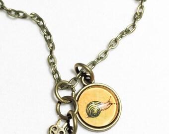 Snail necklace, snail, slow, animal, snails, snail jewelry