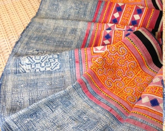 Vintage Hemp Ethnic Hmong Tribal Textile Rare Handmade Cross stitch Craft supplies