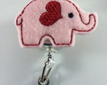 Elephant badge cover-valentine badge reel-valentine elephant-elephant badge reel-retractable id-elephant id-pediatric nurse-teacher badge
