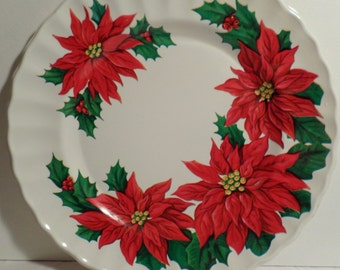 Poinsettia, Vintage, Christmas, 1950s, Christmas Decoration, Santa cookie plate, antique, shiny bright, 1960s, Serving plate, Nostalgic