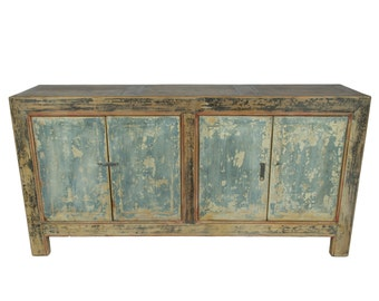 Antique Chinese Storage Credenza in Distressed Natural and Gray Finish (Los Angeles)