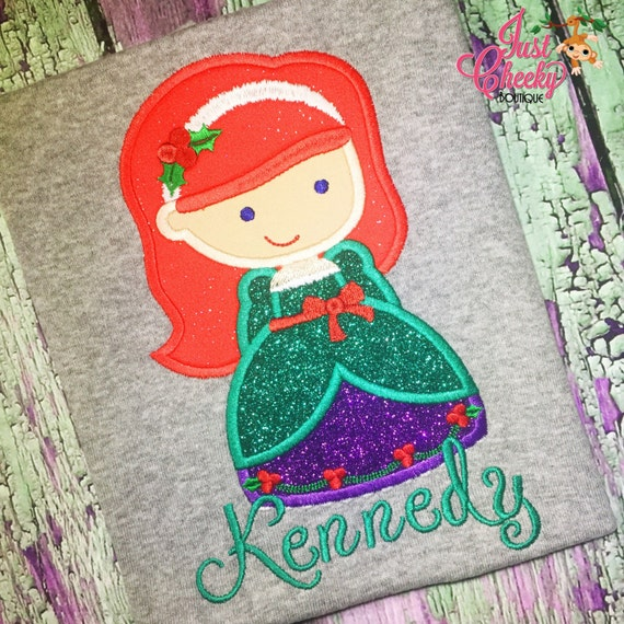 Ariel Christmas Cutie Embroidered Shirt - The Little Mermaid - Under the Sea - Disney Princess - Disney Christmas Vacation -