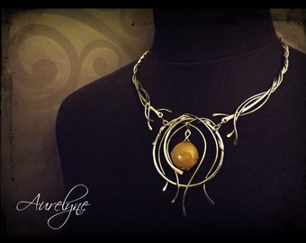 """Stainless Necklace """"Avarice"""" Yellow Agate fairy elven mystic dream"""