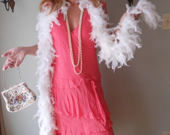 1990s Upcycled Salmon Colored Crepe Dress for Flapper Gatsby Costume Medium Large #9