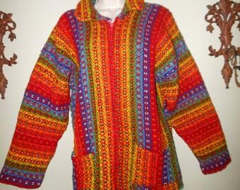 1980s Multicolor Knit Jacket Medium Large