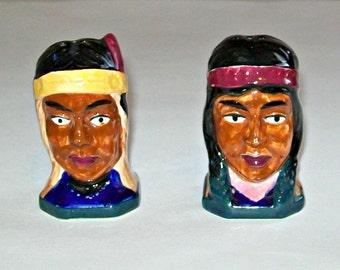 Vintage Native American Salt and Pepper Shaker Set