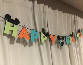 Surf / Beach Mickey Mouse Birthday Banner