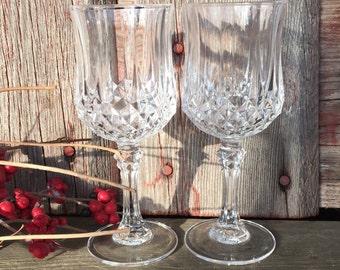 2 vintage lead crystal sherry goblets small wine glasses, Cristal D Arques Durand Longchamp glasses, vintage glassware, liquor cordials,