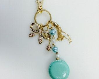 Handmade Resin Pastel Mint French Macaron Keychain/Purse Charm