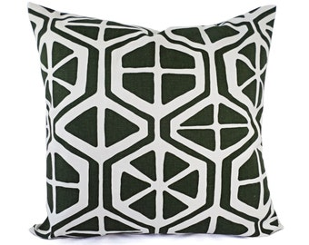 CLEARANCE One Green Decorative Pillow Cover - Forest Green and White Pillows - Dark Green Pillow Cover - Hunter Green Pillow - Custom Pillow