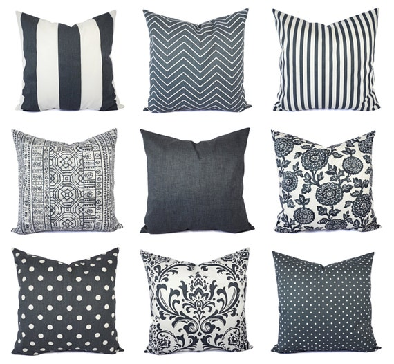 charcoal and white pillow cover gunmetal grey throw pillow. Black Bedroom Furniture Sets. Home Design Ideas