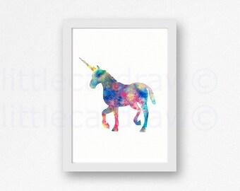 Unicorn Print Rainbow Unicorn Illustration Watercolor Painting Wall Art Unframed Bedroom Wall Decor
