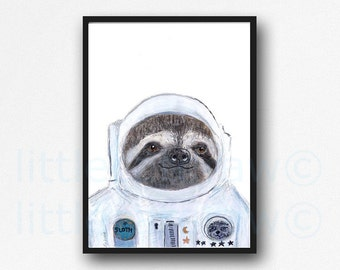 Space Sloth Print Astronaut Illustration Painting Giclee Print Animal Art Space Suit Sloth Art Print Wall Art