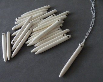 White Turquoise Stick Necklace Turquoise Sterling Silver Boho Necklace Turquoise Jewelry by SteamyLab