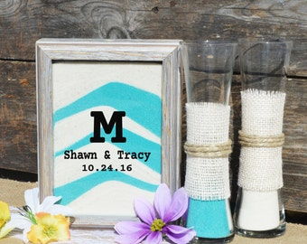 Limited Edition Personalized Rustic Barn Wood Wedding Sand Ceremony Frame Set With FREE Personalization Unity