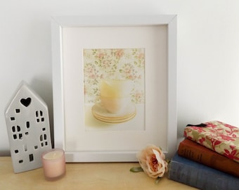 vintage teacups photograph / still life photography / pastel / home decor / wall art / fine art / pink / floral / tea