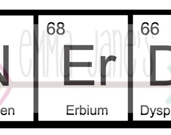 NERDY PERIODIC TABLE Svg Digital Download Cut File