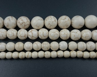 Ivory White Howlite Turquoise Beads Round Loose Gemstone Beads, Semi Precious Beads 6mm 8mm 10mm 12mm strand