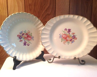 Antique 1920's Leigh Ware Potters Pair of Shabby Chic Floral Serving Platters - 22 ct. Gold Trim Scalloped Edge - Excellent Condition