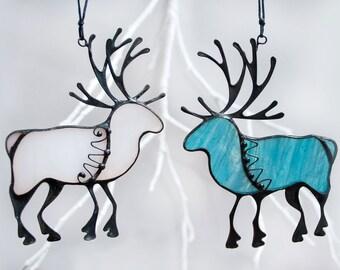 White Reindeer, Christmas Gift, Winter Ornament, Christmas Tree Decor, Blue Deer Christmas Stain Glass Suncatcher