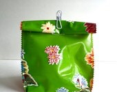 Oil Cloth Lunch Bag in Get it Green/ Orange gingham