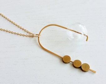 MOBILE NECKLACE | gold necklace, circle necklace, bubbles necklace, minimalist, statement necklace, long necklace, modern jewelry |