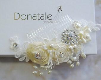 Wedding Hair Piece - Wedding hair flower- Bridal Headpiece -Wedding Headpiece -Ivory Cream Lace Headpiece- Bridal Hair Piece - ROSALINDE