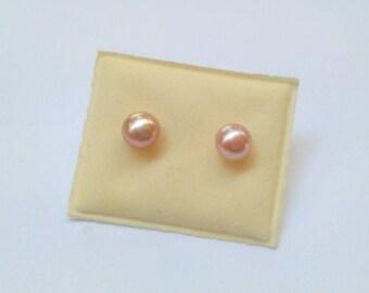 Light Pink Freshwater Pearl Stud Earrings Sterling Silver