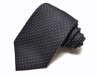 Silk Tie in Black with hits of Silver