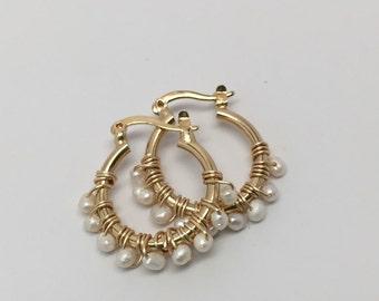 Pearl Hoop Earrings Small
