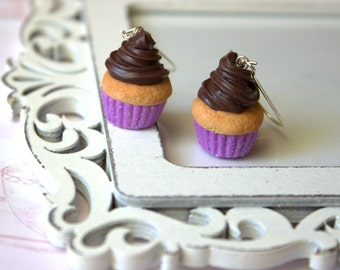 Miniature cupcake earrings, lilac glitter earrings, polymer clay miniature food, kawaii gifts for her