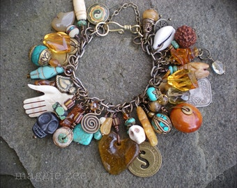 Lucky Amber and Turquoise Heart Mojo Charm Amulet Bracelet