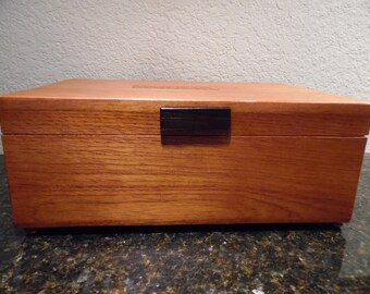 Solid Spanish Cedar Cigar Humidor with a Special Engraving for Dad. Removable Spanish Cedar Tray and Wenge Handle