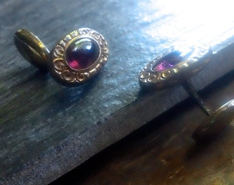 Antique Victorian Faux Amethyst CuffLinks, Gents formalwear gold cufflinks, jewelled mens accessory, unisex cufflinks
