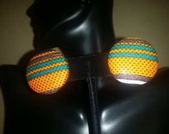 African fabric button earrings.