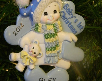 Baby's 1st Christmas Snowman on Hearts