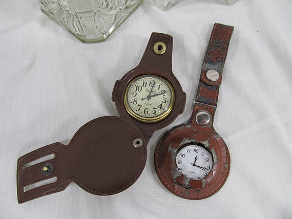 x2 Vintage Fob Watches Japan Movt Wolverine Wildneress. Watches in Leather Case Gorgeous Pocket Watch