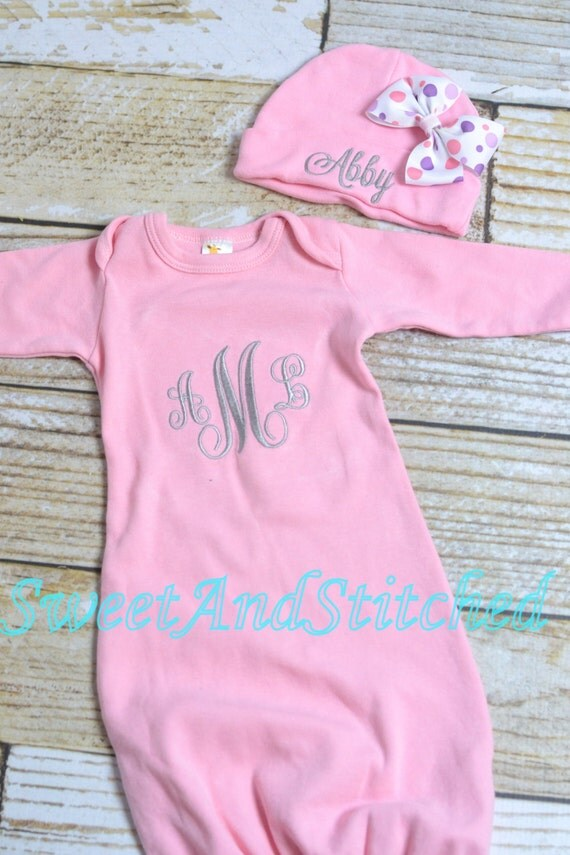 Personalized pink monogrammed newborn gown, baby girl take home hospital outfit in pink, newborn hat with name, monogram baby girl outfit